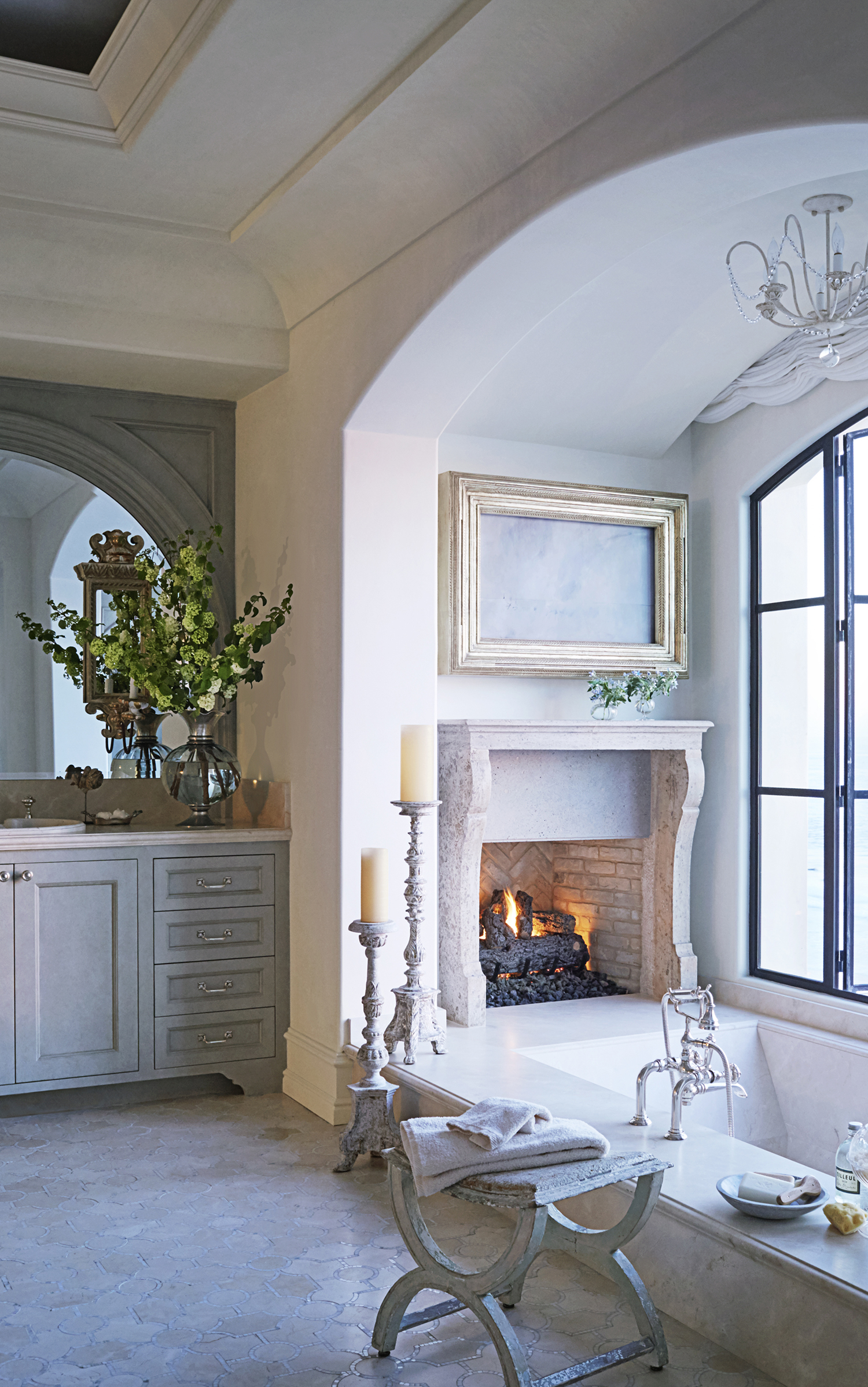 Bathroom With A Fireplace