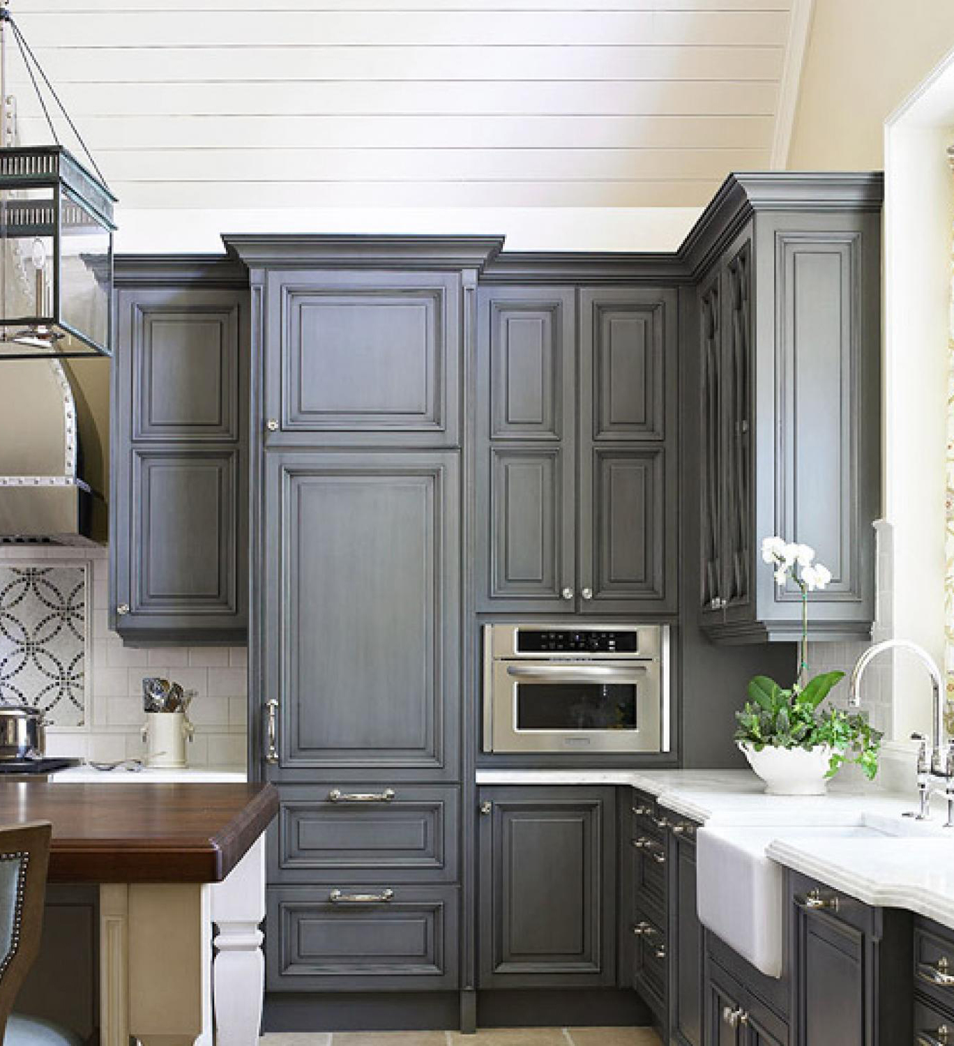 Kitchen with Blue-Gray Cabinets