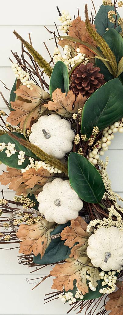 Pumpkin Magnolia Wreath