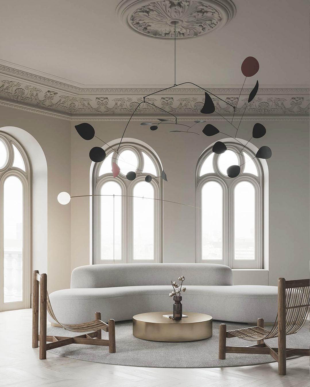 Minimalist Living Room by Evgeniy Bulatnikov and Emil Dervish