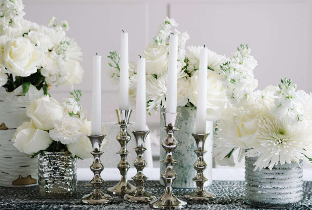 Classic all-white holiday dinner party by event designer Camille Styles