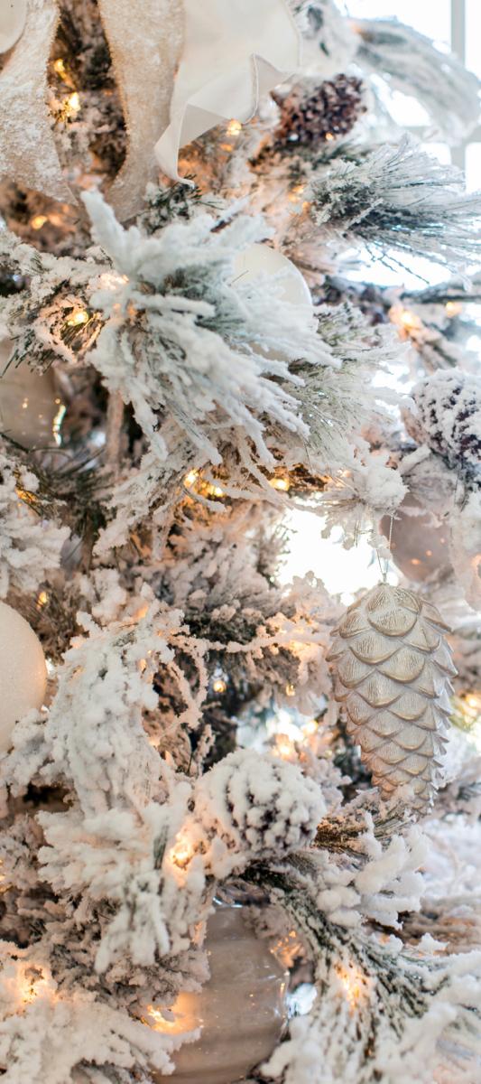 Pink Peonies White Christmas Tree