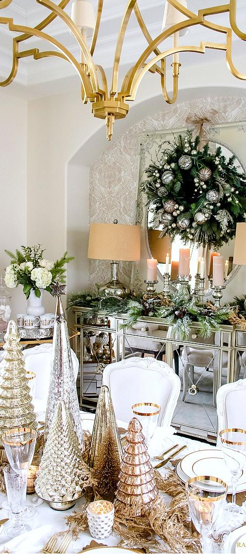 Elegant Gold & White Christmas Tablescape by Randy Garett Design