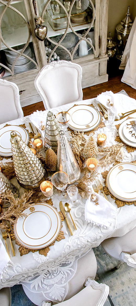 Elegant Gold & White Christmas Tablescape by Randy Garett Design