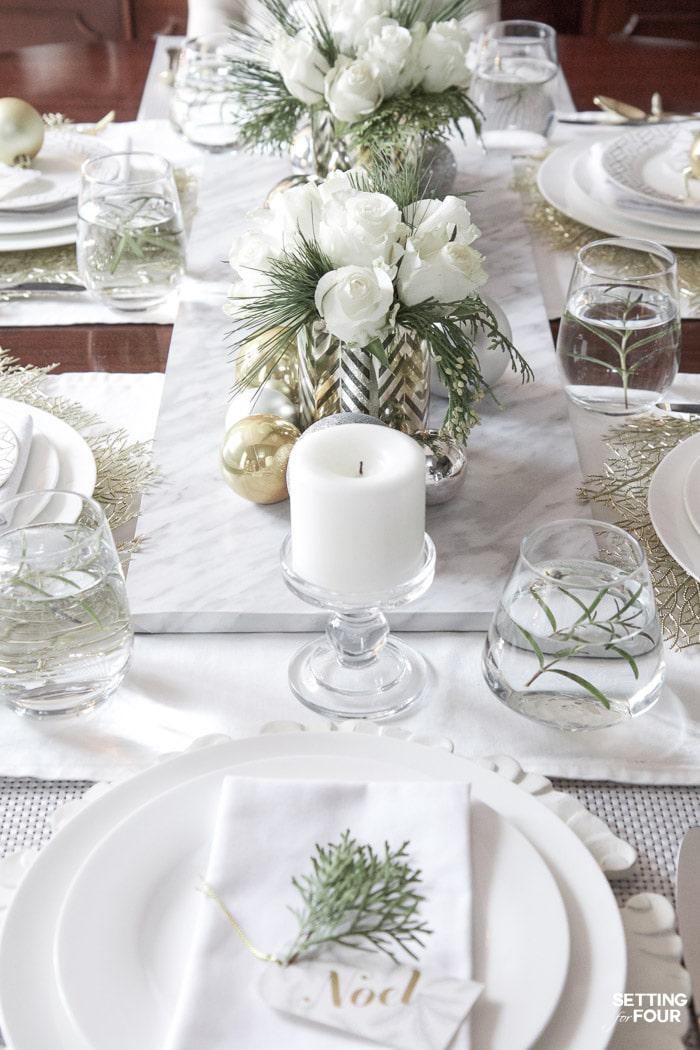 Elegant Gold & White Christmas Table   Setting for Four Blog