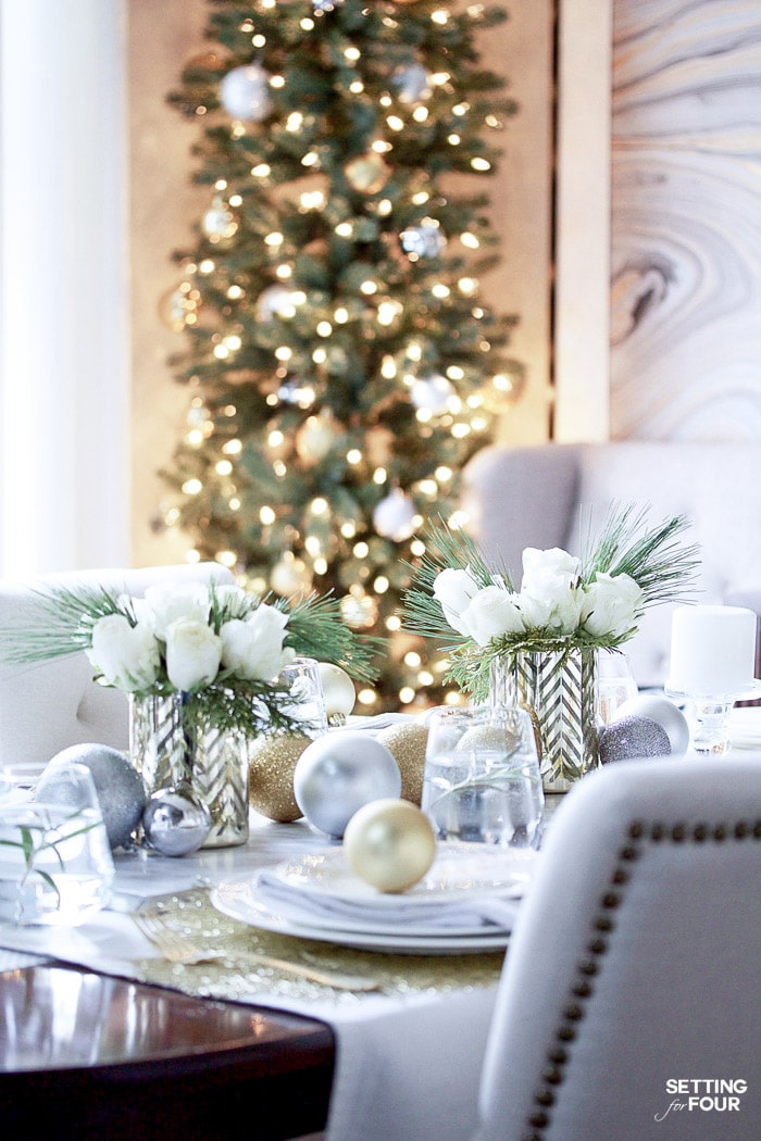 Elegant Gold & White Christmas Table | Setting for Four Blog