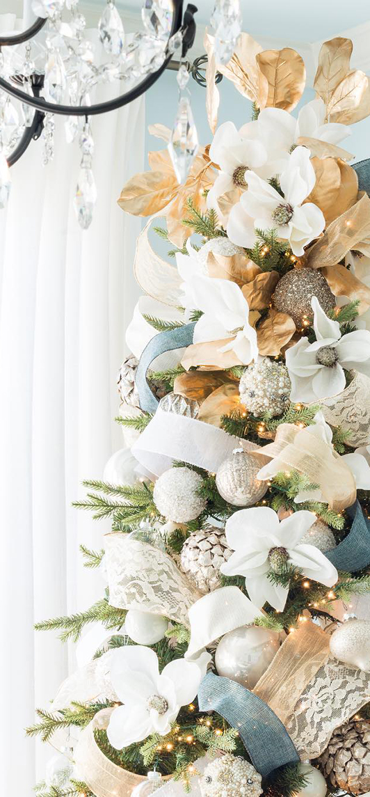 Peach & Blue Christmas Tree | Kelley Nan