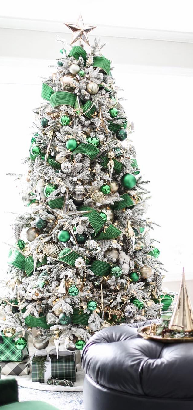 Green & Silver Christmas Tree   Inspired by Charm