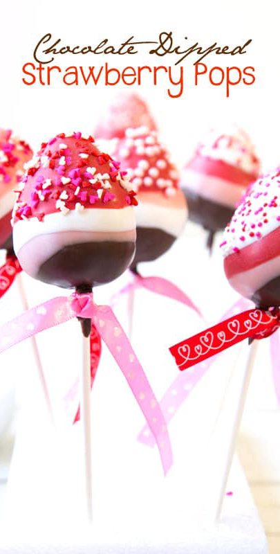 Valentine's Day Dessert Ideas   Chocolate Dipped Strawberry Pops   A Spicy Perspective