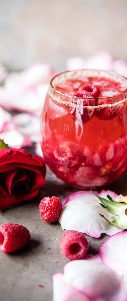 Valentine's Day Cocktail Recipe   Raspberry Rose Tequila Kombucha   Half Baked Harvest