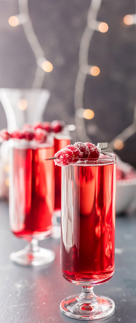 Valentine's Day Cocktails | Sugared Cranberry Mimosas | The Cookie Rookie