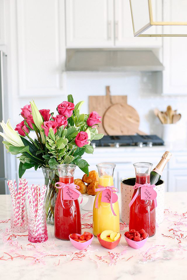 Valentine's Day Cocktail Recipes | Mimosa Bar | Eat Yourself Skinny