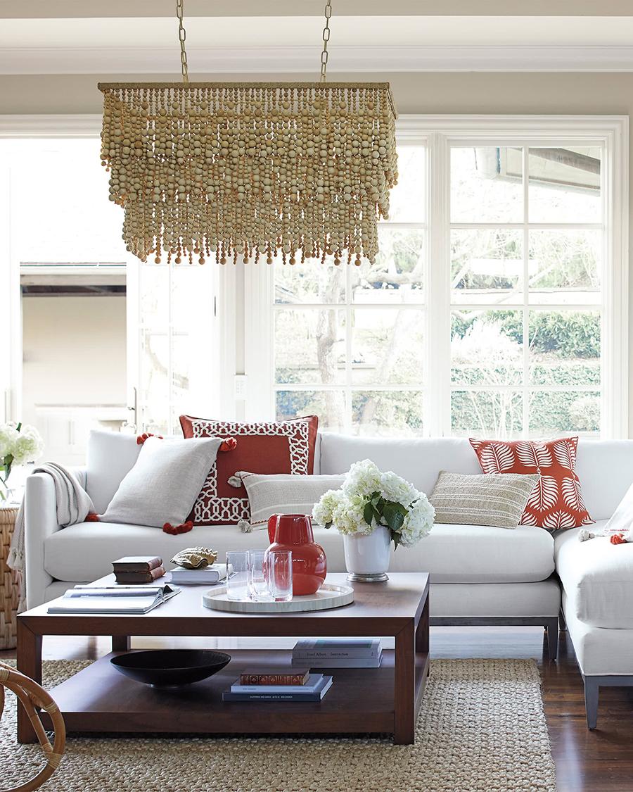 Barton Living Room Design   Adding a Pop of Orange to a Space
