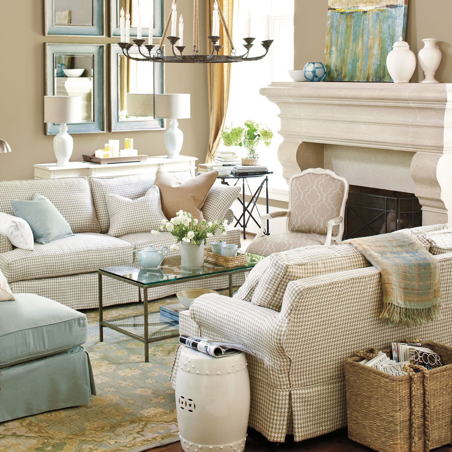 French Country Living Room by Ballards Design