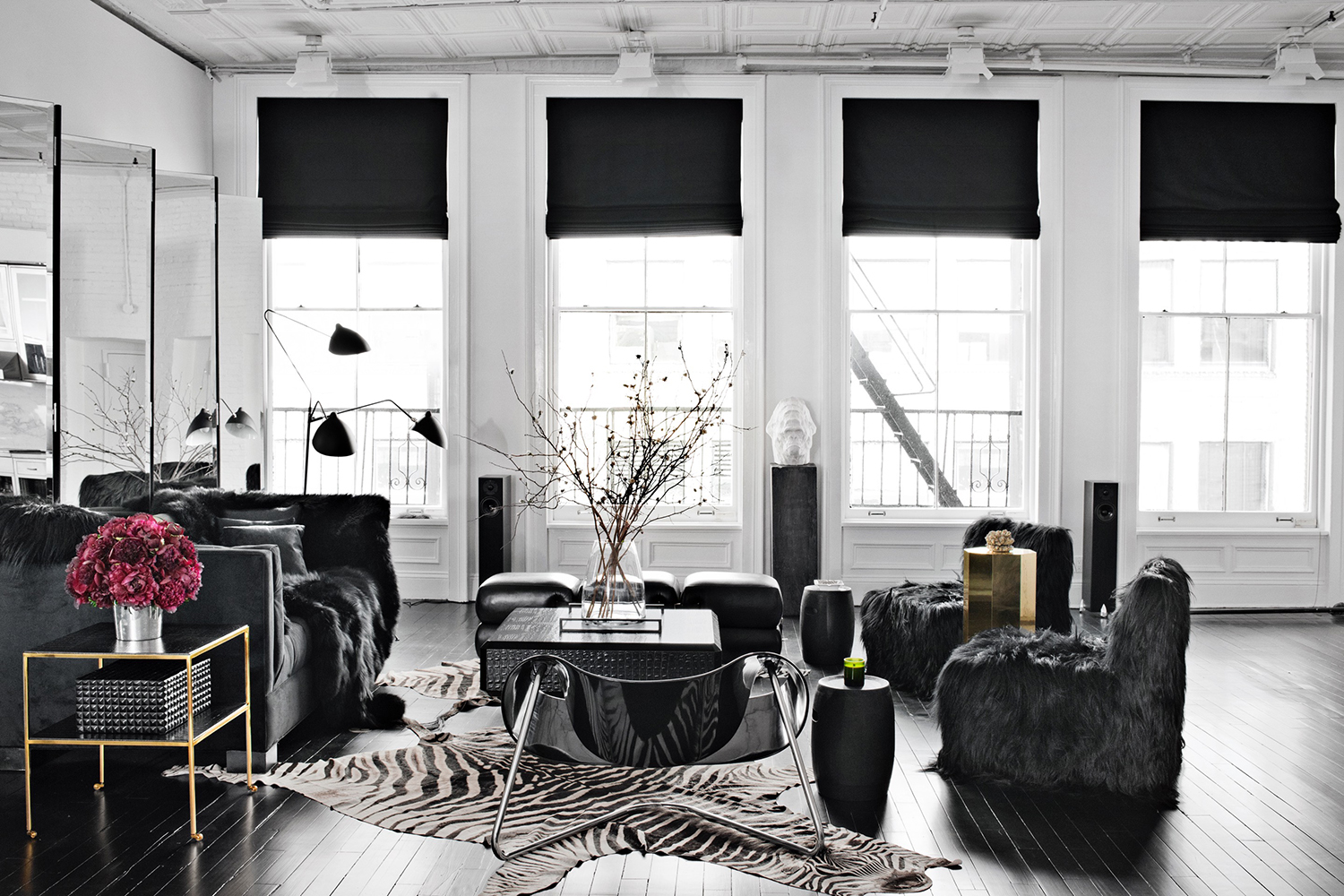 Ryan Korban Living Room in Black & White