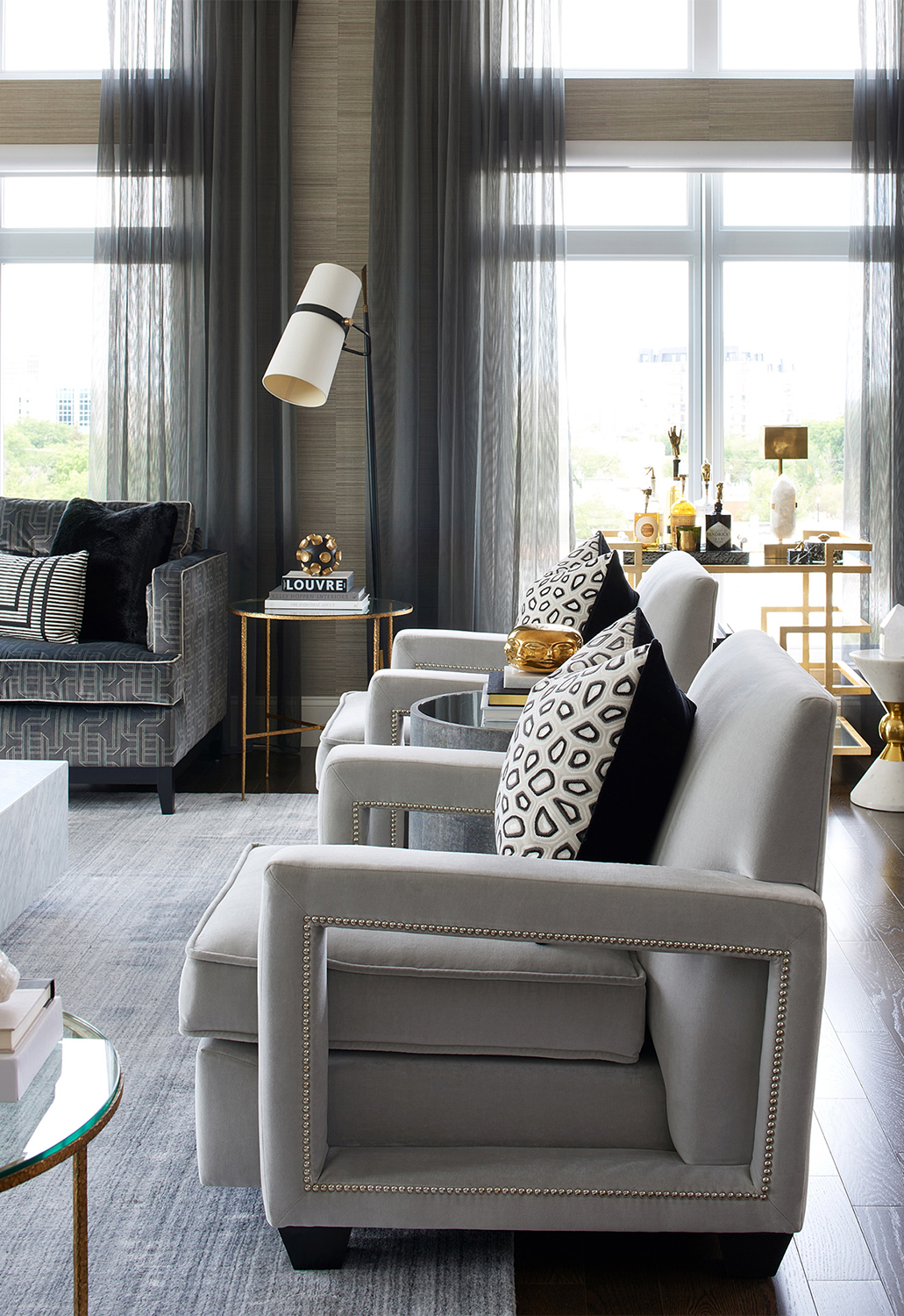 Glamorous Living Room   Luxe on Broadway   Atmosphere Interior Design