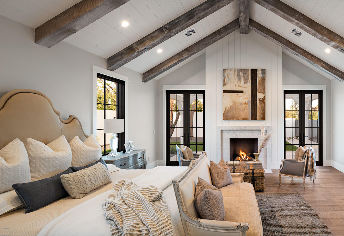 Farmhouse Bedroom with Warm Tones