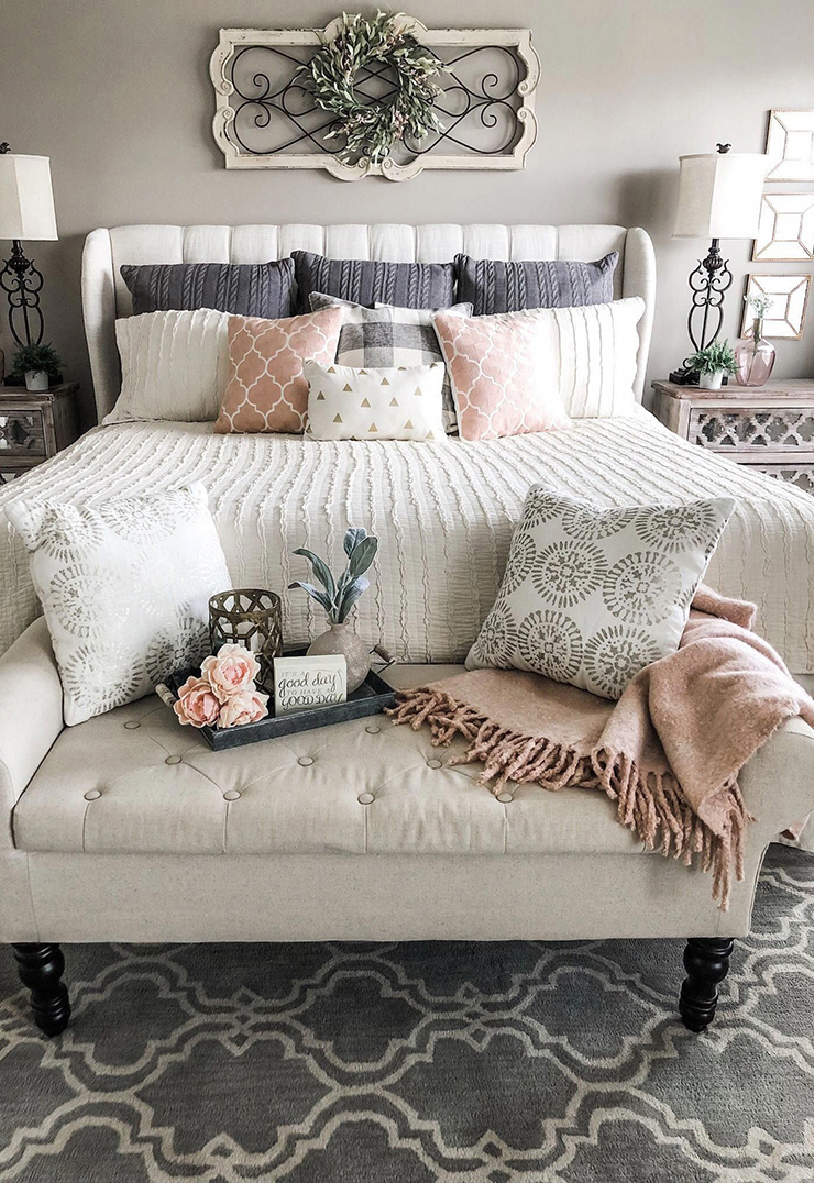 Farmhouse Bedroom with Blush Accents