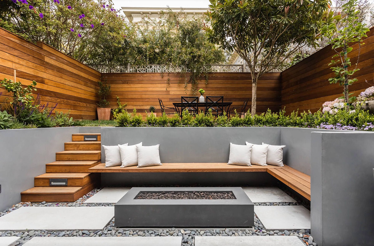 Modern Outdoor Area with Fire Pit
