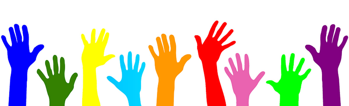 colorful hands reaching up