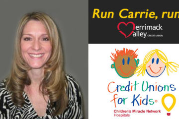 "Carrie smiling, words ""Run Carrie, run"" and logo for Credit Unions for Kids"