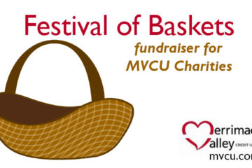 "brown drawn basket with words ""Festival of Baskets fundraiser for MVCU Charities"""