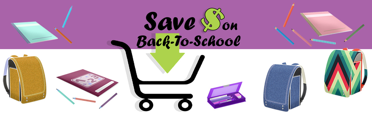 school supplies and shopping cart