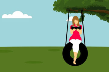 cartoon woman sitting on a tire swing, reading