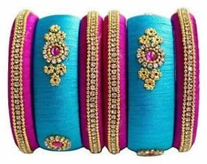 Blue and pink Silk Thread Bangles