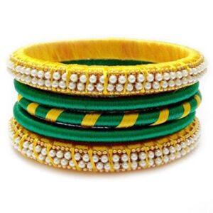 Yellow and gold Silk thread bangles set