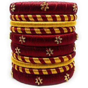Maroon and gold silk thread bangles