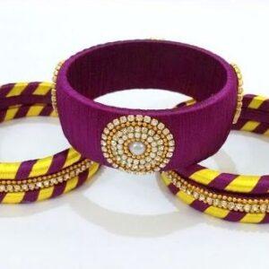 Yellow and purple silk thread bangles set