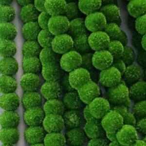 Parrot green velvet beads 6mm