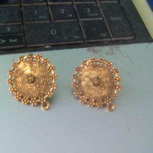 Antique gold round studs big
