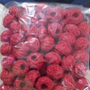 red cotton thread beads