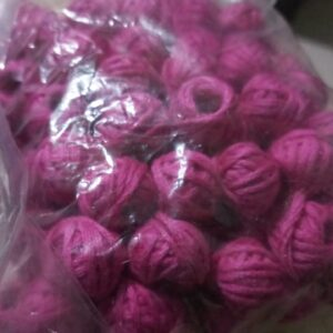 Pink cotton thread beads 25 pcs