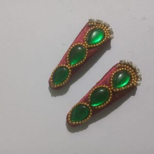 Red silk thread tic tac clips with green kundans