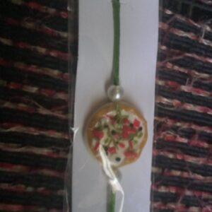 Handmade clay food rakhi pizza