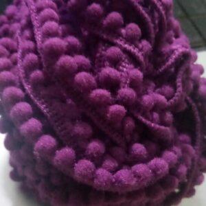 Purple Pompom lace 1 meter