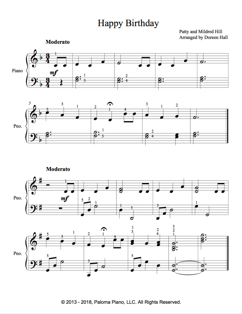 Paloma Piano - Happy Birthday - Page 1