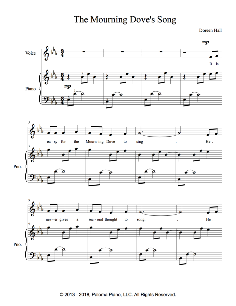 Paloma Piano - The Mourning Dove's Song - Page 1