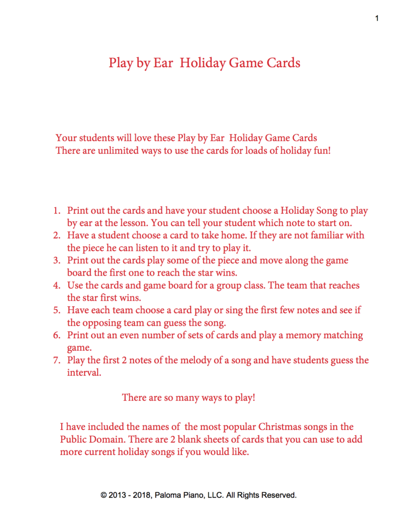 Paloma Piano - Play By Ear Holiday Card Game - Page 1