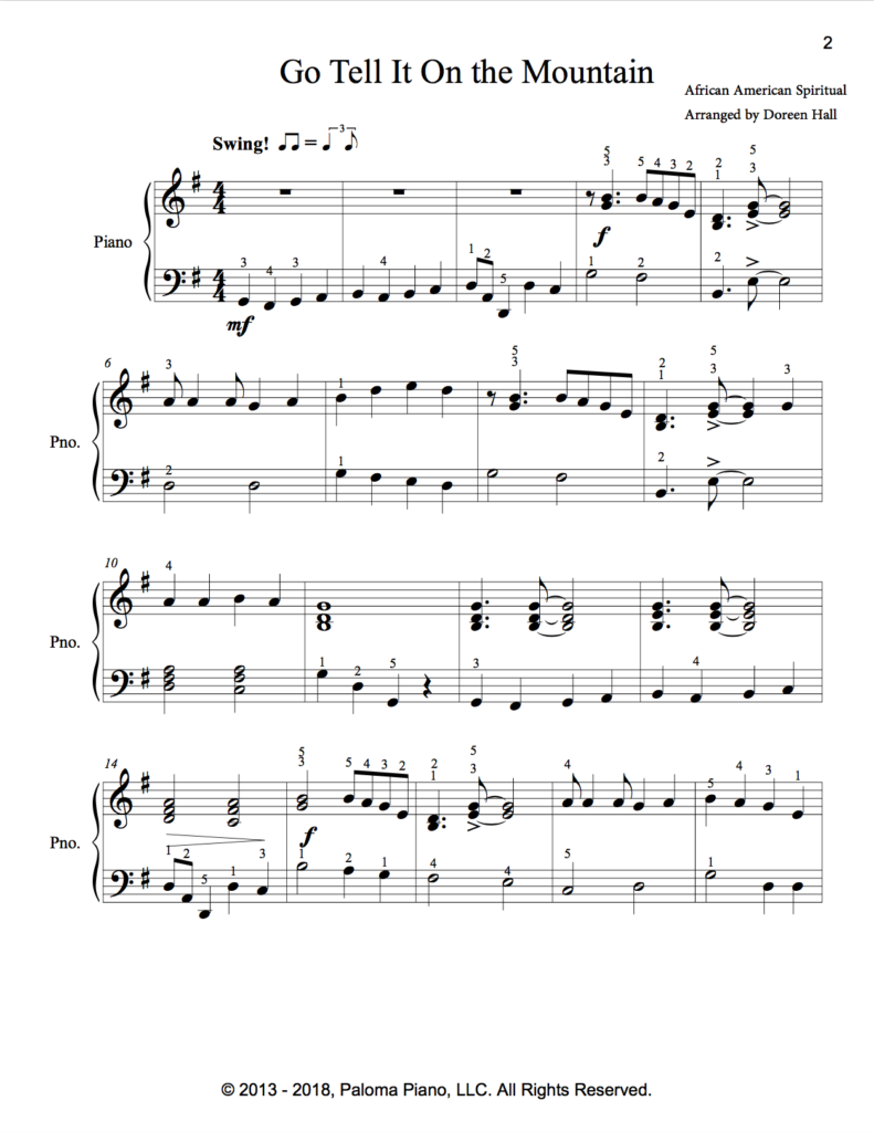 Paloma Piano - Go Tell It On The Mountain - Page 1