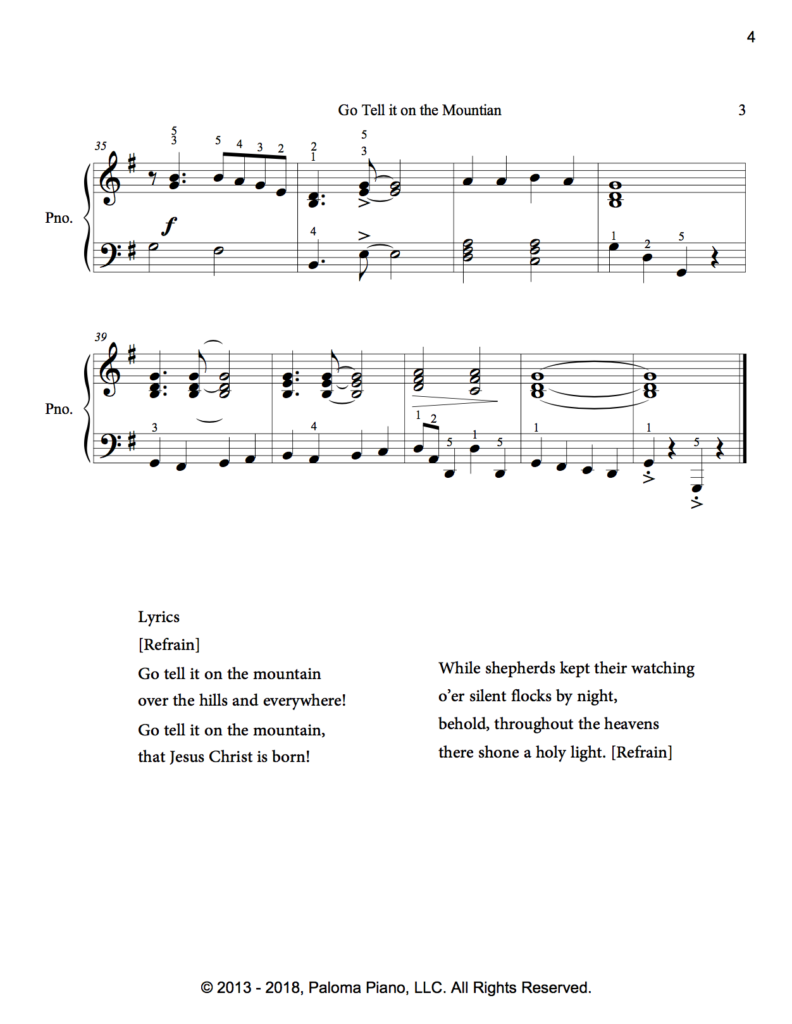 Paloma Piano - Go Tell It On The Mountain - Page 3