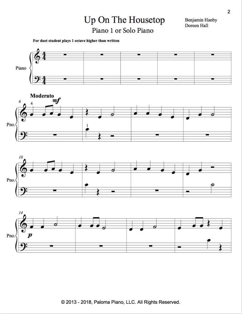 Paloma Piano - Up On The Housetop - Page 2