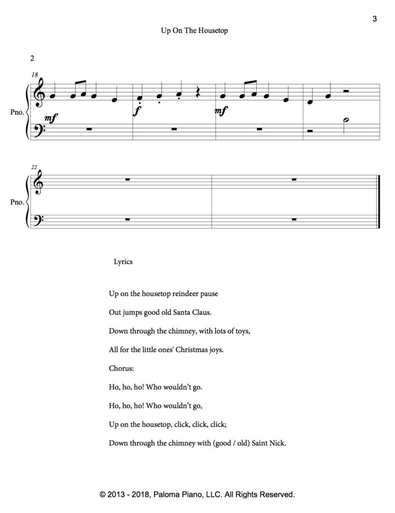 Paloma Piano - Up On The Housetop - Page 3