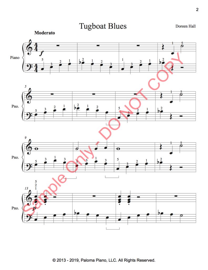 Paloma Piano - Tug Boat Blues - Page 1