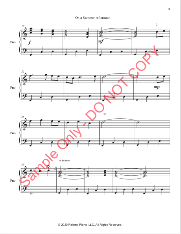 Paloma Piano - On a Summer Afternoon - Page 3