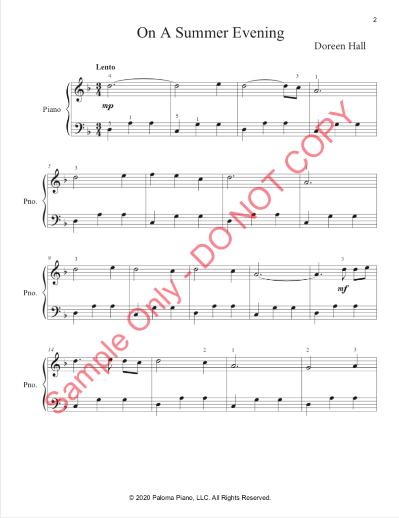 Paloma Piano - On a Summer Evening - Page 1
