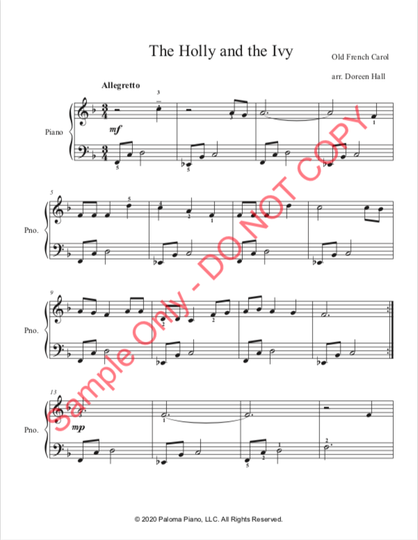 Paloma Piano - The Holly and the Ivy - Page 1